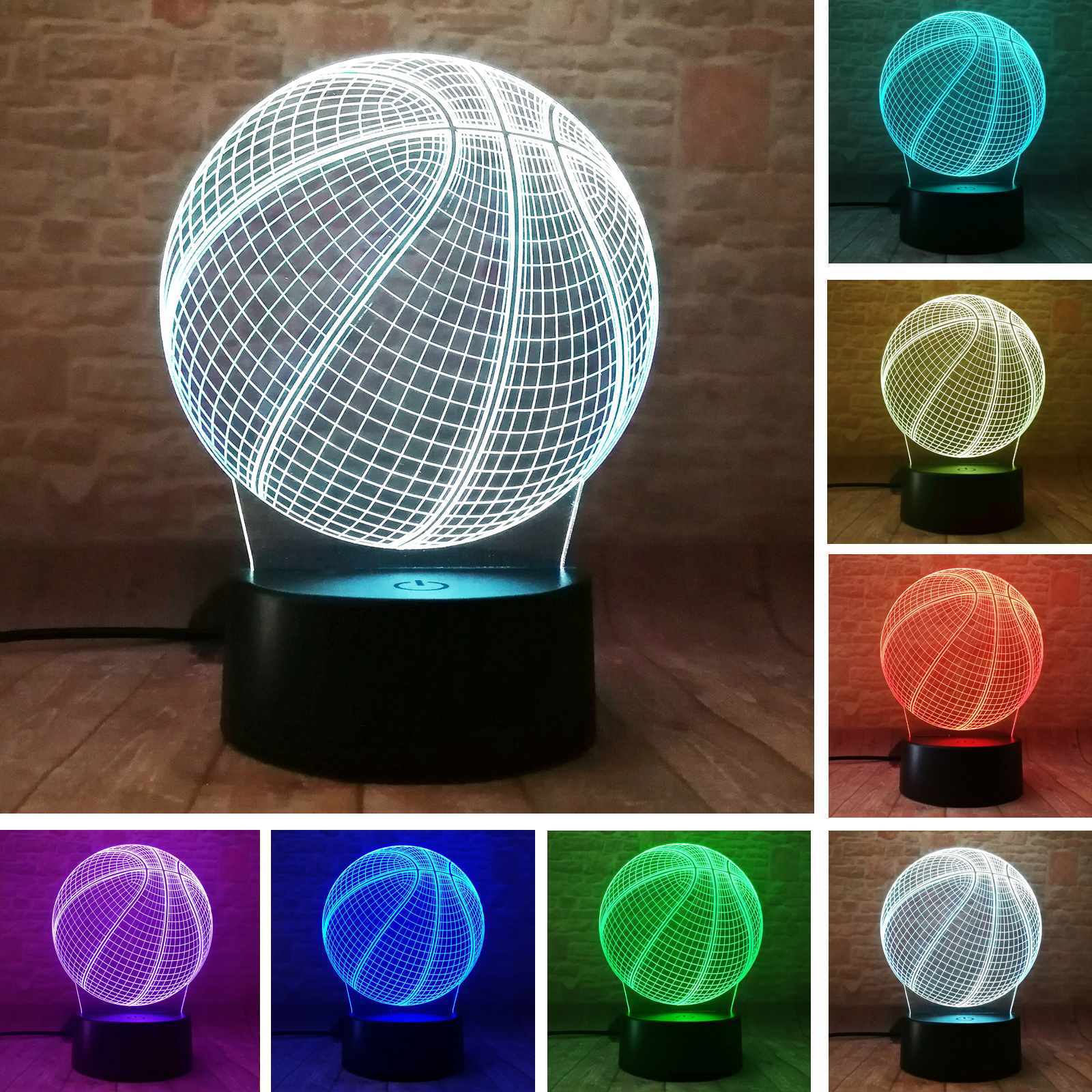 Basketball 3D Illusion Birthday Gift Lamp 7 Colors Auto Change Night Light Child Boys Man Gifts Toy for Basketball Sports Fans