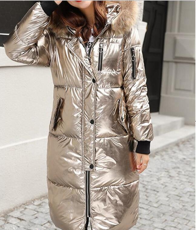 Femmes silver D'hiver Rue Mode Veste Parka Zipper Parkas rose Gold champagne Manteau Manches Femme Silver De 2018 Chaud Vers Bas Argent Le Longues Gray d6XqWd1