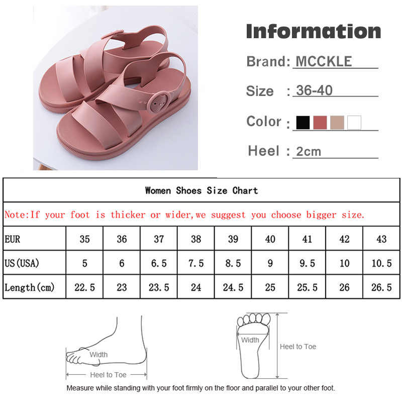 MCCKLE Flat Sandals Women Shoes Gladiator Open Toe Buckle Soft Jelly Sandals Female Casual Women s MCCKLE Flat Sandals Women Shoes Gladiator Open Toe Buckle Soft Jelly Sandals Female Casual Women's Flat Platform Beach Shoes