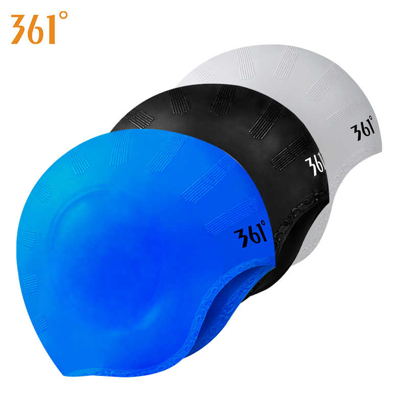 15b0e469eaf 361 Ear Protector Swimming Caps Men Women Silicone Swim Cap 2018 Waterproof  Ear Protection Swim Hat