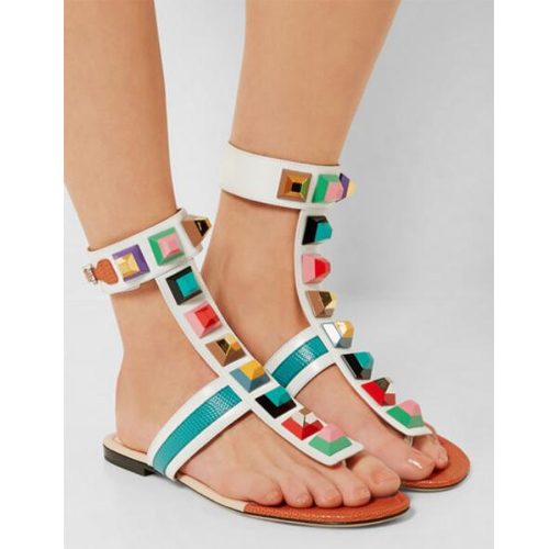 Hottest Fashion Summer Gladiator flat sandals Woman Rivets Embellish Flip Flops Peep Toe Ankle Strap Colorful Spikes Shoe