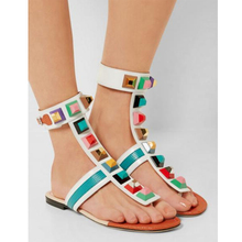 Hottest Fashion Summer Gladiator flat sandals Woman Rivets Embellish Flip Flops Peep Toe Ankle Strap Colorful Spikes Shoe