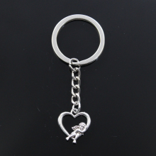 Fashion Keychain 20x18mm heart lover angel Cupid Pendants DIY Men Jewe