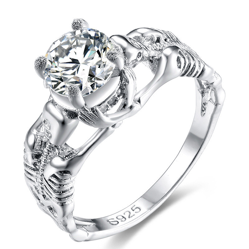 Punk Style Skeleton Shape Party Engagement Rings For Women Silver Color Zircon Crystal Anel Rings Wedding Jewelry Accessories