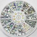 400 Pcs de Cristal Strass Para Unhas 3D Glitter Prego Accessoires 5 Tamanhos de Pedra Jóias de Strass Lantejoulas Manicure Nail Art Design