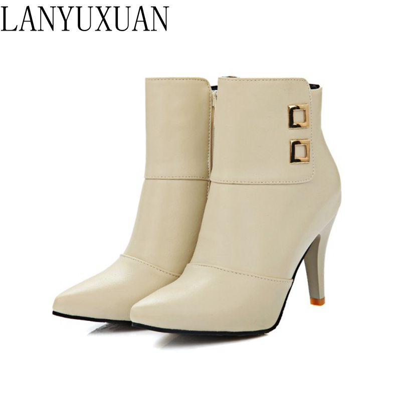2017 Botas Mujer Winter Boots New Poninted Toe Buckle Boots For Women Sexy Ankle Heels Fashion Winter Shoes Casual Zip Snow  A21 famiao women boots sexy high heel zapatos mujer tacon 2017 gary black buckle ankle boots for women shoes pointed toe winter