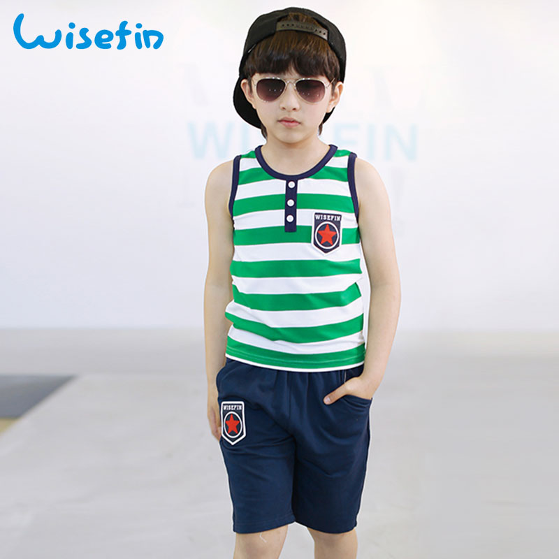 Wisefin Chidren Clothing Boys 2Pcs Short Clothes For Kids Stripe Sleeveless Tops+Star Pants Blue Green Active Toddler Boys Suits