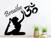 Buddha Yoga Woman Wall Decal Quote Breathe Om Sign Symbol Hindu God Stickers Adhesive Interior Studio Art Mural DecorSYY406