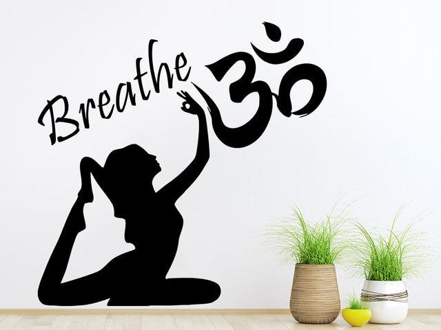 Autocollant Mural femme Yoga bouddha | Étiquette adhésif, citation respirant Om, signe, symbole dieu Hindu, intérieur Yoga Studio Art Mural, décory406