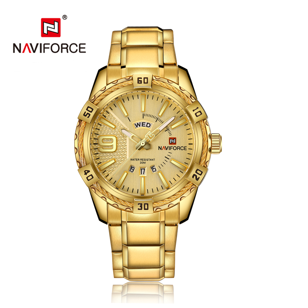 Fashion Luxury Gold Quartz Watch NAVIFORCE Brand Men's Watches Waterproof Stainless Steel Date Week Clock Men Relogio Masculino naviforce luxury men gold watches men s stainless steel quartz wrist watch male sports waterproof date clock relogio masculino