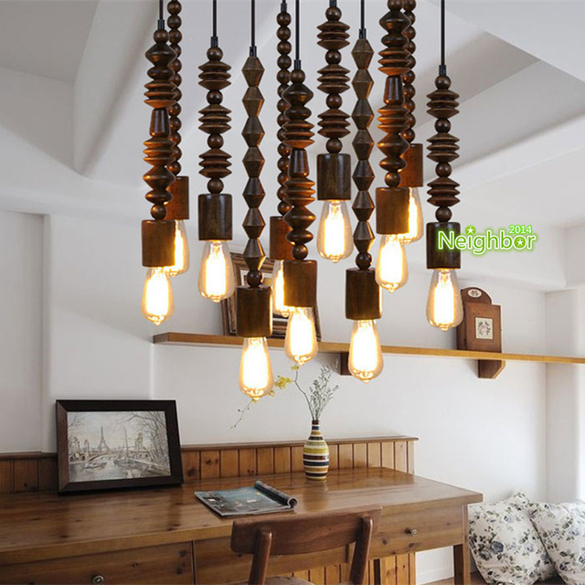 Retro Loft Wooden Beaded Pendant Light Hanging Lamp Study Office Living Room Hallway Lighting A
