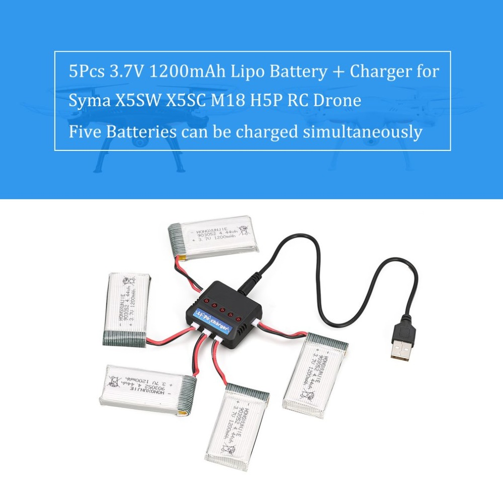 5Pcs Rechargeable 4.44wh <font><b>3.7V</b></font> <font><b>1200mAh</b></font> <font><b>Lipo</b></font> <font><b>Battery</b></font> + Charger for Syma X5SW X5SC M18 H5P RC Drone Quadcopter image