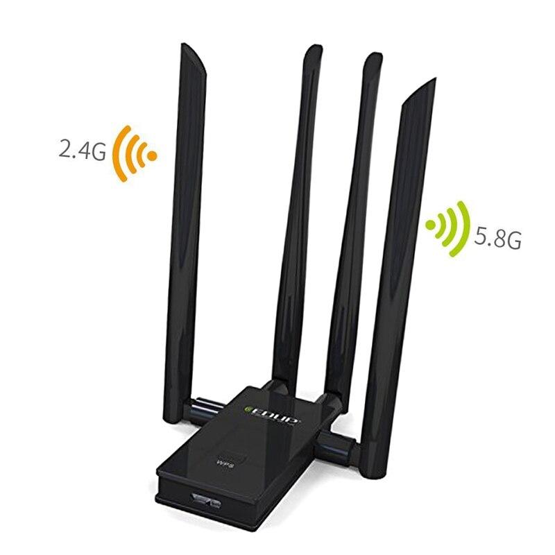 Adaptateur sans fil détachable Wifi récepteur EDUP 1900 Mbps USB3.0 double bande 5.8 Ghz/2.4 GHz antenne externe pour ordinateur portable PC QJ