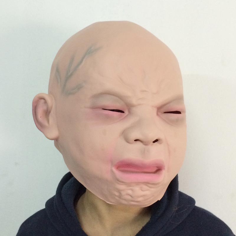 New Halloween Latex Crying Masks Baby Happy Crying Costume Masks Halloween Full Head Party Masks Wholesale in Boys Costume Accessories from Novelty Special Use
