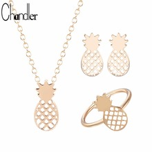 Chandler Simple Pineapple Jewelry Set RingNecklaceEarring Dubai Wedding Luxury For Women Fashion Accessaries 2017 Summber New