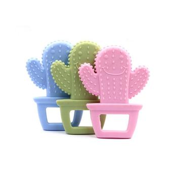 Gryzak dla niemowląt 1 szt Śliczny kaktus wisiorek spożywczy silikonowy gryzak do wyrobu biżuterii naszyjnik gryzaki tanie i dobre opinie Pojedyncze załadowany Lateksu BPA za darmo Baby Teethers Zwierząt 4 miesięcy