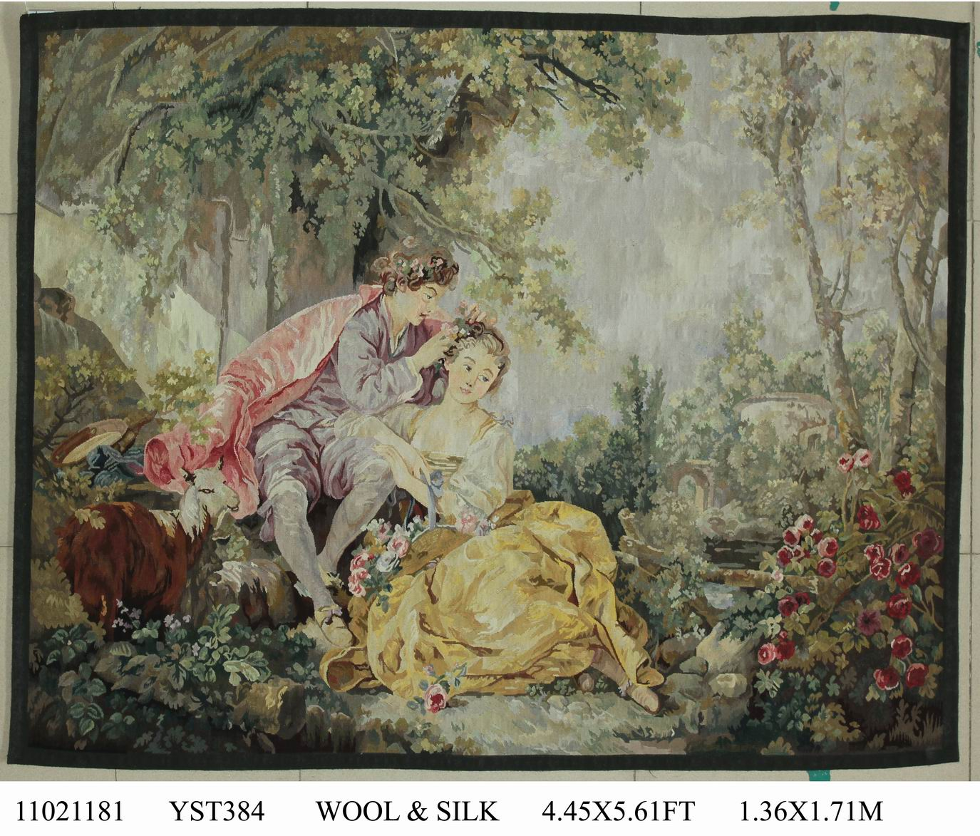 tapestry decor Pure handmade wool palace French Aubusson Gobelins Weave Tapestry wide (122CM) 11021181 4.45x5.61gc88tapyg4