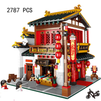 Compatible Lepin City Mini Street View Building Blocks Chinatown Satin Silk Store With Saleman Figures Toys