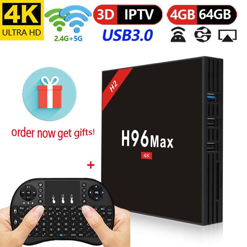 H96 Max H2 Android 7.1 TV BOX 4 gb 64 gb 2.4g/5g Wifi Bluetooth 4.0 USB 3.0 HD 4 k VP9 HDR10 Smart Media Player Support Neflix