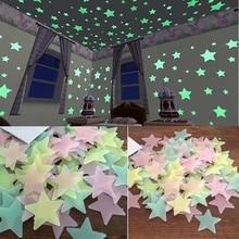 100 шт./компл. в форме звезды, которая светится ночью; Стикеры светится в темноте игрушки ребенок светильник Стикеры Размер s для детей Украшения в спальню рождественские день рождения подарки