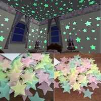 100pcs/set Night Luminous Stars Sticker Glow In The Dark Toys Child of light Stickers for Kids Bedroom Decor Xmas Birthday Gifts