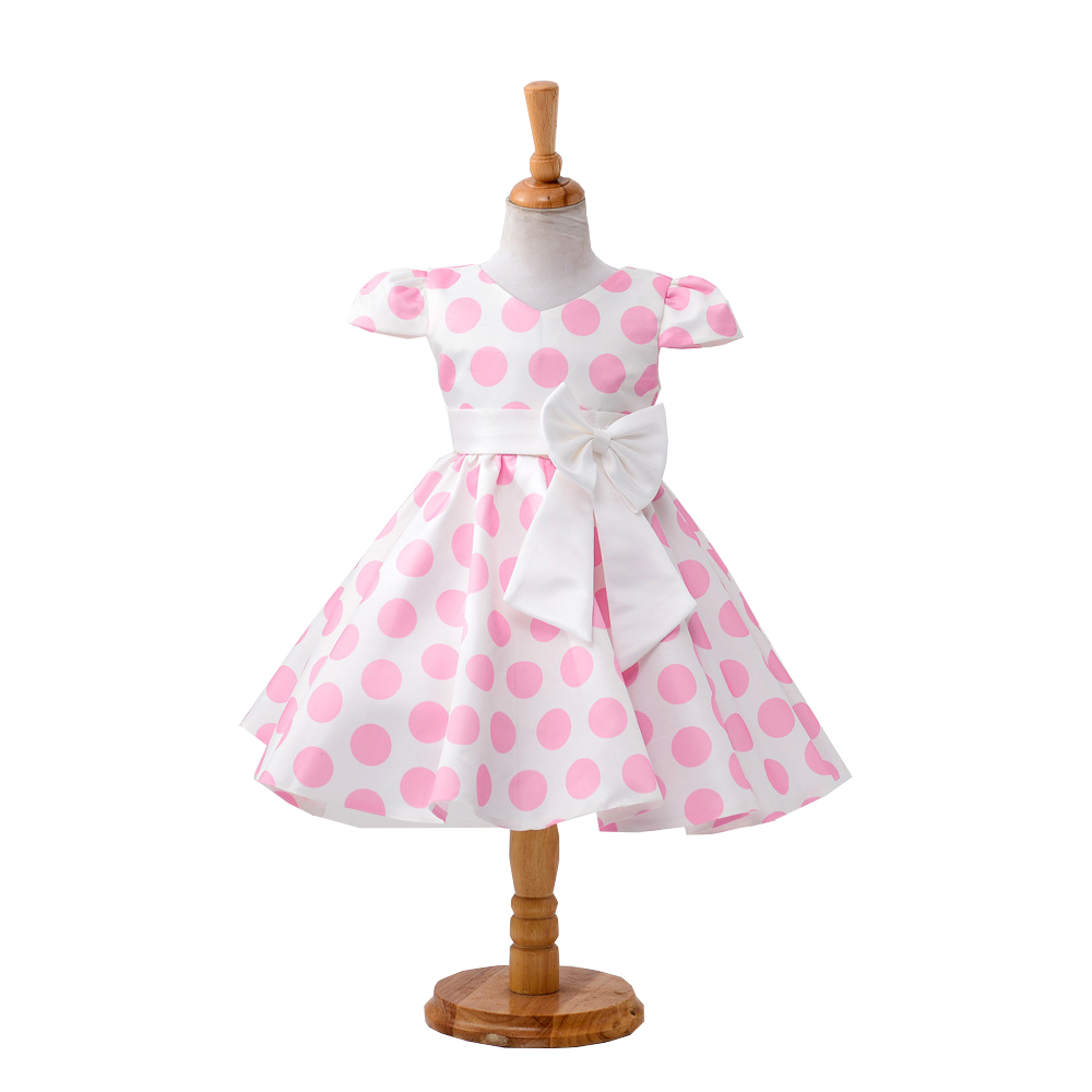 The newest Girl Dress Girls Polka Dot dress child Wedding dress Costumes girl outfits Short sleeve with bow