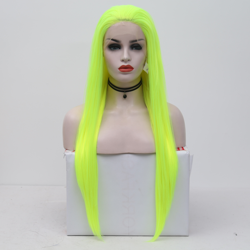 Charisma Natural Straight Neon Yellow Synthetic Lace Front Wigs for Women Makeup High Temperature Heat Resistant