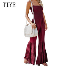 TIYE Sexy Spaghetti Strap Hollow Out Double Speaker Jumpsuits Elegant Sleeveless Loose Wide Leg Playsuits Summer Casual Overalls цена