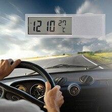 Автомобиле присоской часов кнопки термометр дисплей батареи светодиодный автомобиль цифровой часы