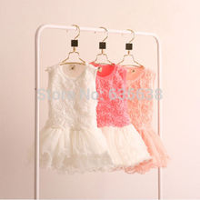 New Hot Kids Girls Toddler Princess Rose Flower dress Lace Ruffled Dresses Tutu dress child's clothing