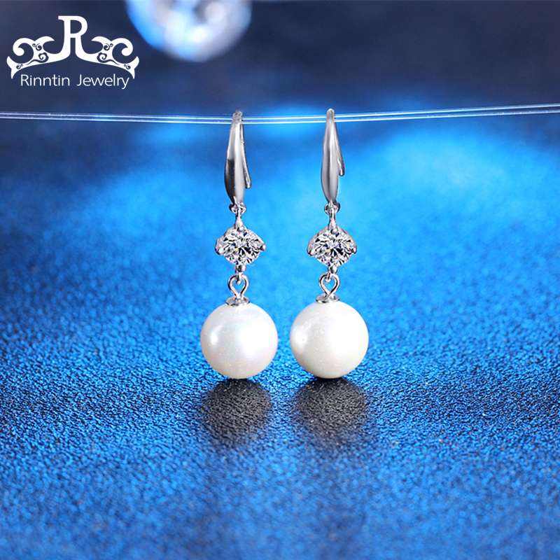 Rinntin 100% Pure 925 Sterling Silver Women Earrings Long Black  White Yellow Pearl With Zircon Fashion Female Earring PSE20