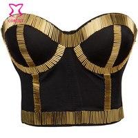Hot Sexy Bra Lingerie Underwear Women Gold Punk Strapless Push Up Punk Party Top Nightclub Dancing