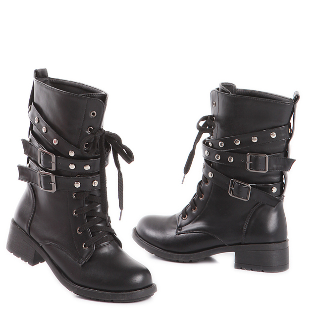 4418789d6bbc5 Women Combat Boots Low Heels Motorcycle Boots Lace Up Biker Army Moto Shoes  Buckle Paten PU Leather Autumn Winter Boots SQ0032
