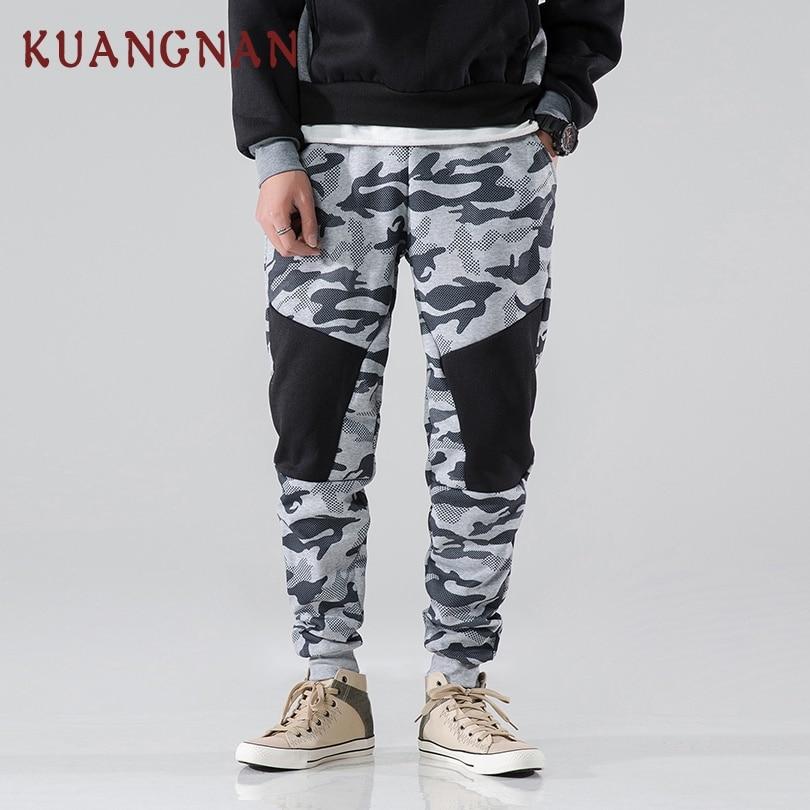 KUANGNAN Harem Pants Camouflage Joggers Streetwear Men Trousers Patchwork Loose Casual