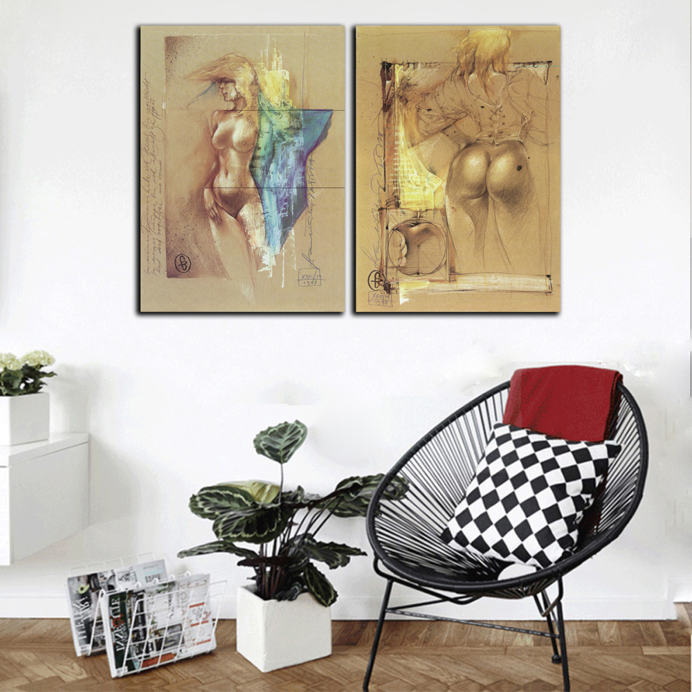 Modern half nude women posters and prints wall art canvas painting sexy naked pictures for living room home decor