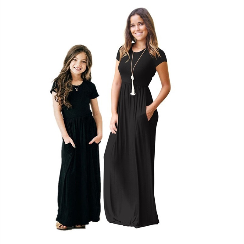 Women's Short Sleeve Loose Plain Maxi Dresses Casual Long Dresses with Pockets 2