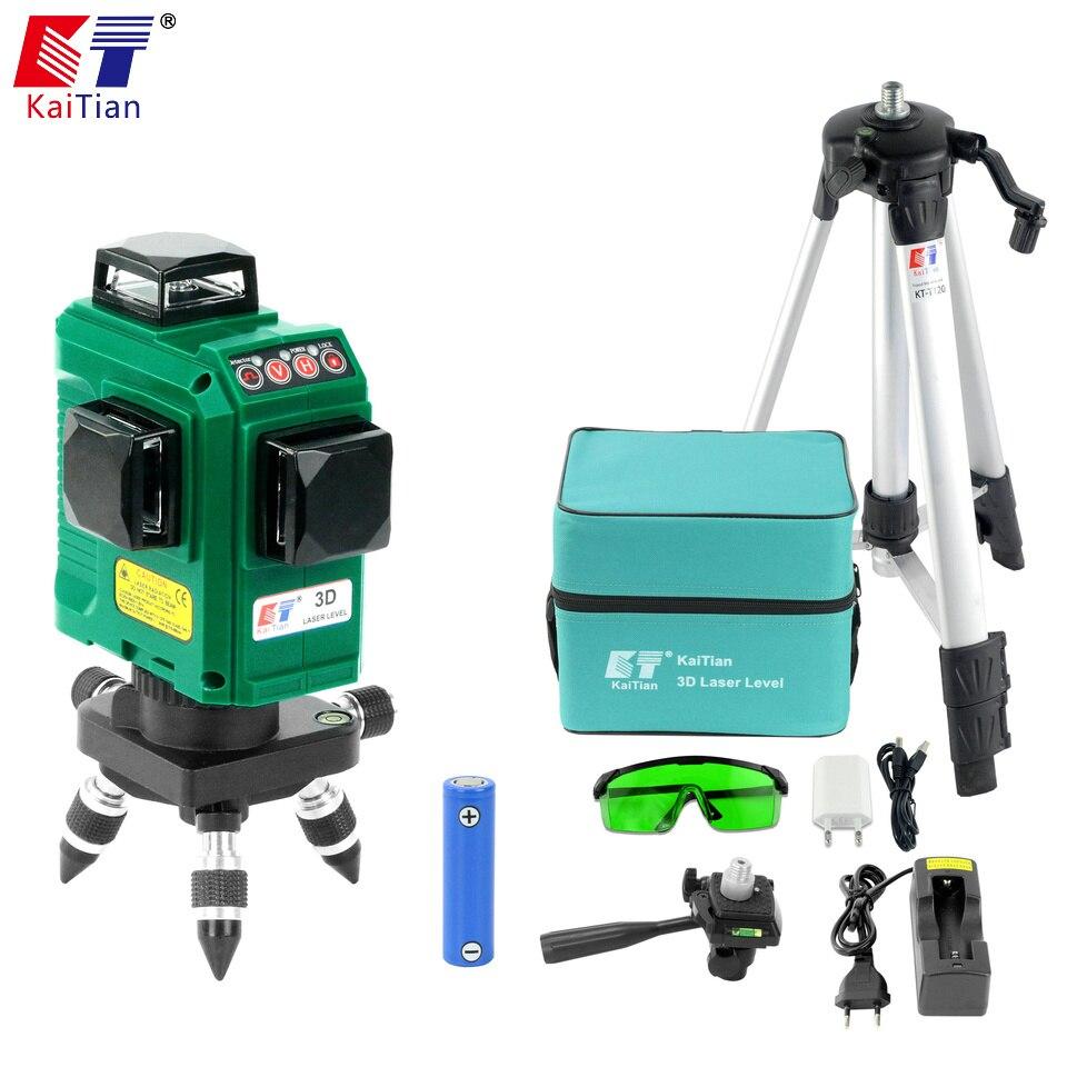 купить Kaitian 3D 12Lines Green Laser Level Tripod Self-Leveling 360 Horizontal Rotary Vertical Cross Laser Nivel Beam Line Lazer Level по цене 13555.83 рублей