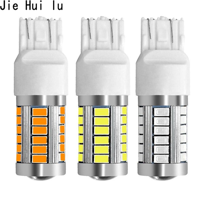 1 peça 7443 t20 w21w 7440 33 smd 33smd led 5630 5730 reserva backup luz de nevoeiro lâmpada freio 12 v branco vermelho amarelo