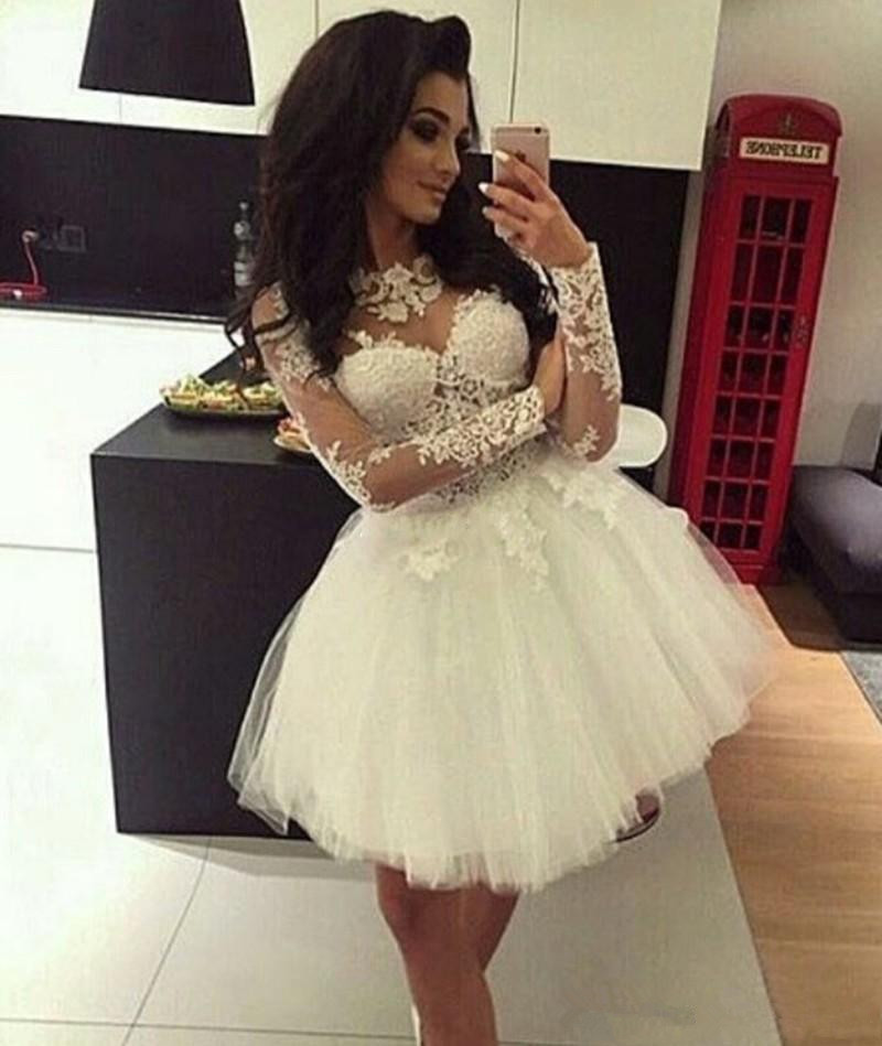 White 2019 Homecoming Dresses Ball Gown Long Sleeves Tulle Appliques Lace Short Mini Elegant Cocktail Dresses