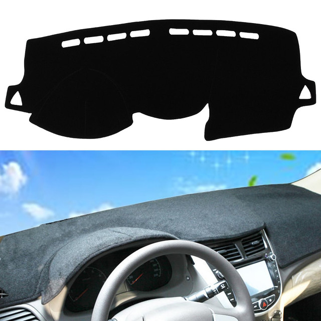 Black Dash Mat Dash Cover Mat Dashboard Cover For Hyundai /Accent 2012 - 2016