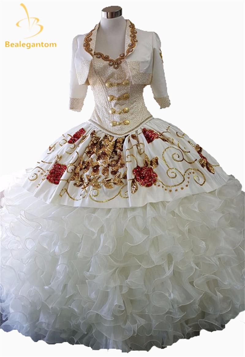 Новый элегантный 2017 Винтаж Милая бальное платье Бальные платья Роскошные золотые Вышивка пайетки оборками Сладкие 16 Платья QA1127