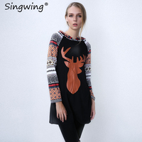 Singwing Printed Elk Hooded Mosaic Christmas Women Dress Print Casual Long Sleeve Xmas Dresses Autumn Winter