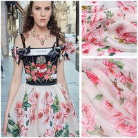 PanlongHome 18 Spring Summer 100 Silk Chiffon Eugene Satin Fabric Pink Rose High Grade Painted Silk