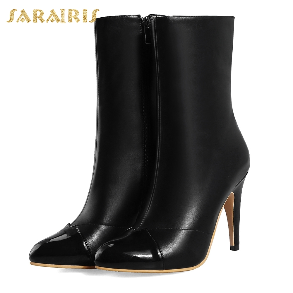 SARAIRIS 2018 Brand Shoes Woman Boots Plus Sizes 28 52 Thin High Heels Zip Up Pointed Toe Black White Mid Calf Boots