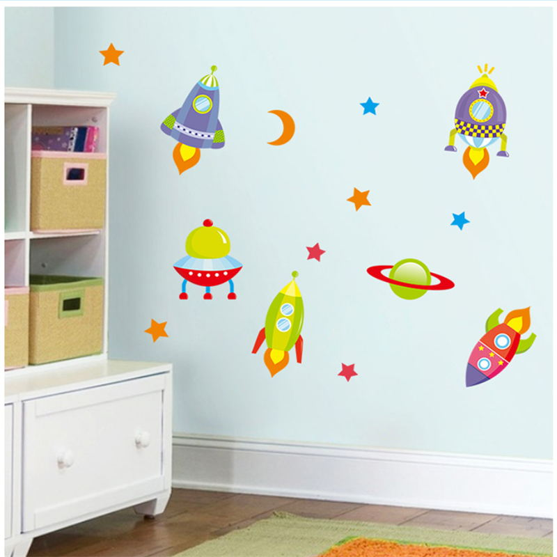 Cartoon Childhood Memory Plane Spaceship Rocket Wall Stickers For Kid Rooms Home Decoration Pvc Wall Decals Diy Mural Art Poster