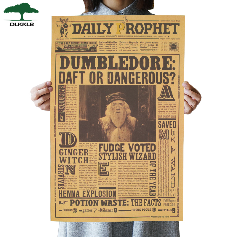 DLKKLB Classic Movie Poster Famous Movie Albus Dumbledore B Kraft Paper Wall Sticker Bar Cafe Home Decorative Painting 42.5x27cm