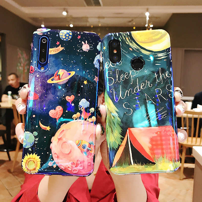 Blue light Phone Cases for Xiaomi 6X 8 9 9SE Redmi Note 7 Glossy marble leaves planet star soft TPU cover cases back fundas