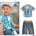 Baby boy clothing suit summer style 2015 children clothes white T shirt + plaid Coat + pant denim conjunto roupa infantis menina