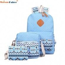Для женщин и девочек холст плеча Школа сумка рюкзак + Crossbody сумка + клатч кошелек Прямая поставка 0724