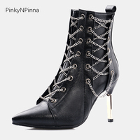 pointed toe high stiletto heels punk ankle boots woman short plush cross tied zipper metal decoration chain Gothic shoes female